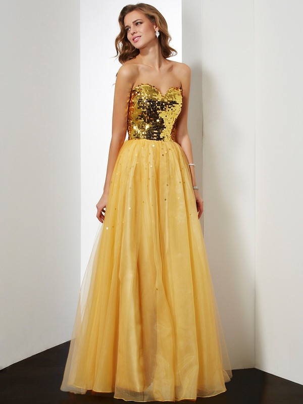 Ball Gown Sweetheart Sequin Organza Prom Dresses