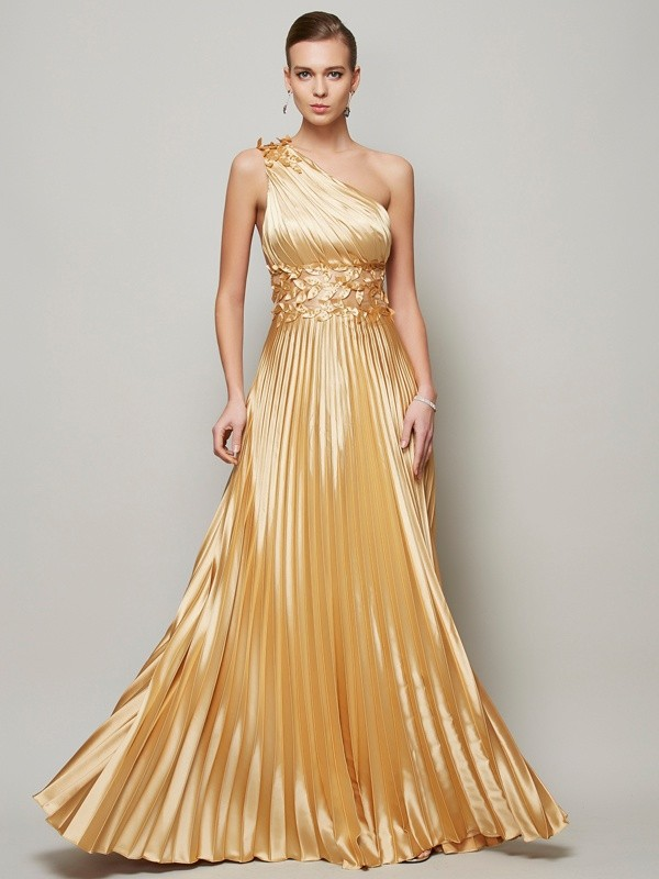 A-Line One-Shoulder Hand-Made Flower Elastic Woven Satin Prom Dresses