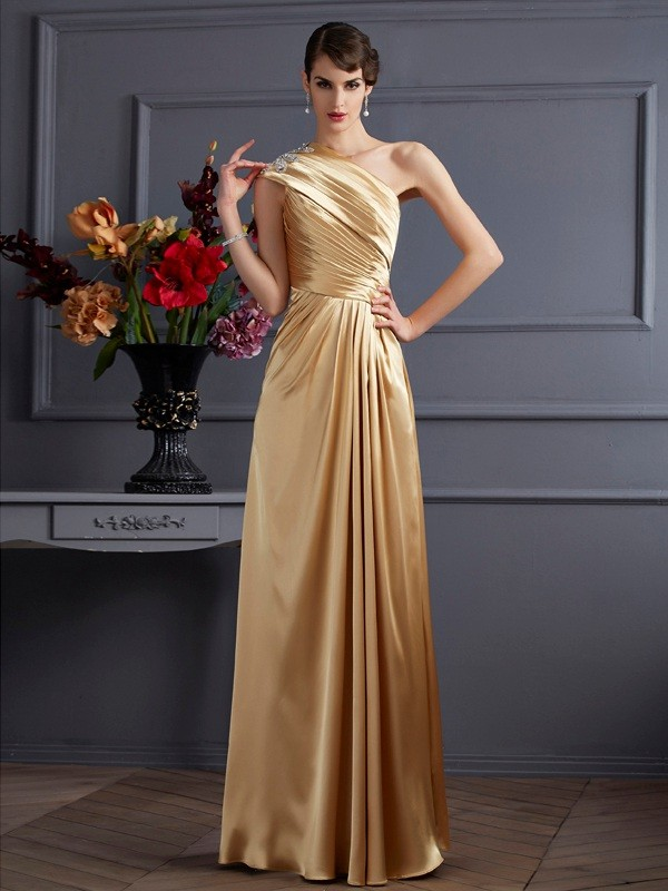 A-Line One-Shoulder Beading Elastic Woven Satin Prom Dresses
