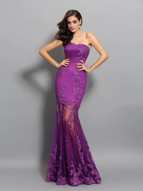 Mermaid Sweetheart Beading Chiffon Prom Dresses