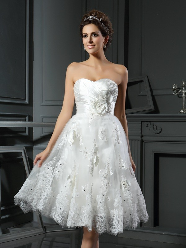 A-Line Sweetheart Ruched Short Satin Wedding Dresses