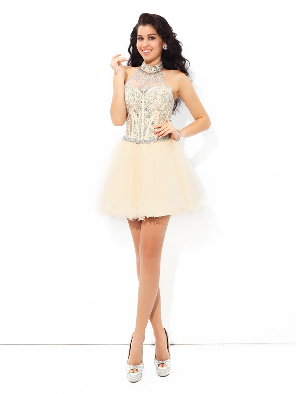 A-Line Halter Beading Short Satin Homecoming Dresses