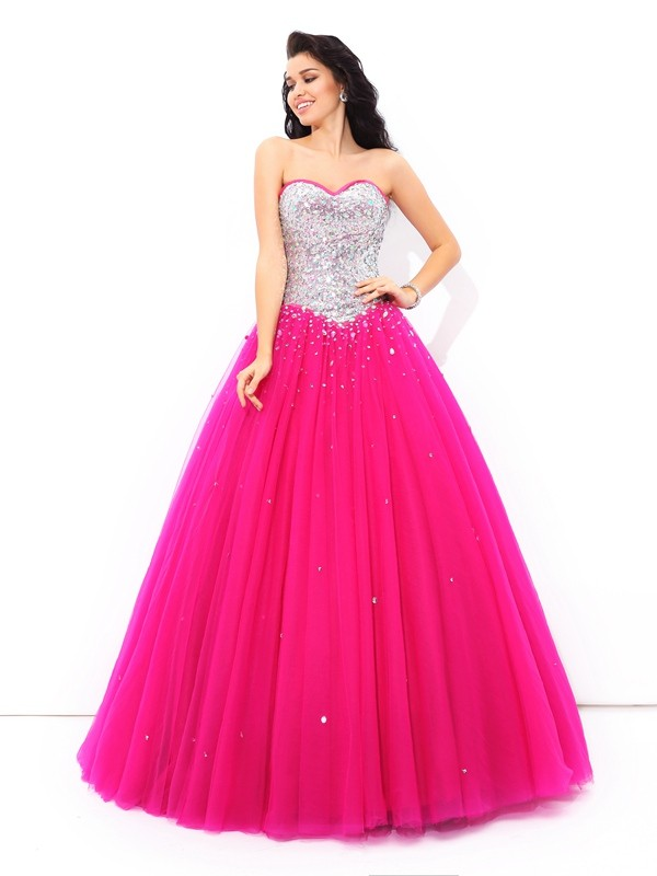 Beading Sweetheart Satin Ball Gown Quinceanera Prom Dresses