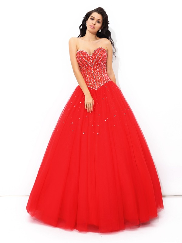 Sweetheart Beading Net Ball Gown Quinceanera Prom Dresses