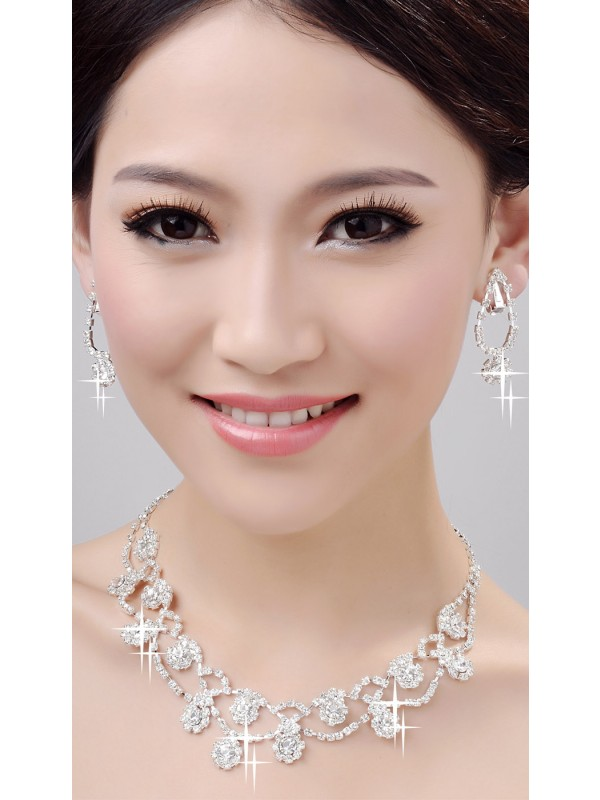 Fashion Glamorous Alloy Clear Crystals Wedding Necklaces Earrings Set