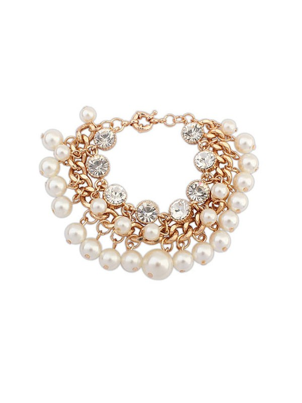 Latest Occident Fashionable Pearls Flash Drilling Exquisite Hot Sale Bracelets