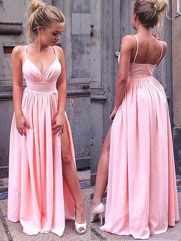 A-Line Straps Floor-Length Ruched Chiffon Prom Dresses