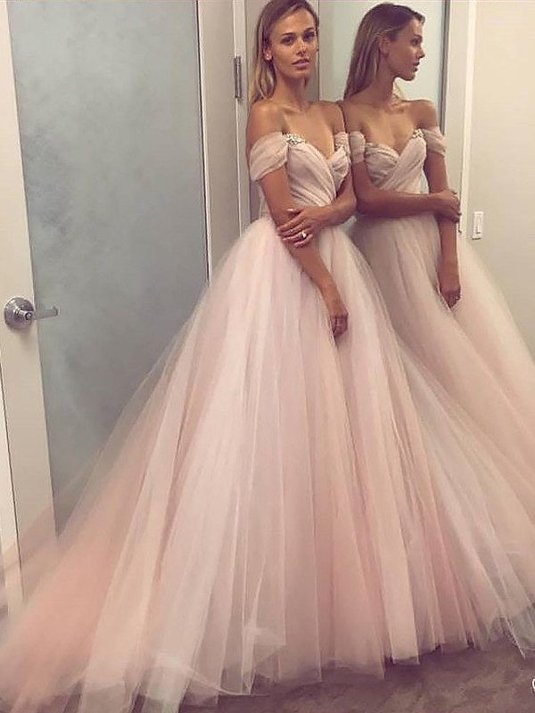 A-Line Off-the-Shoulder Tulle Beading Sweep Train Prom Dresses