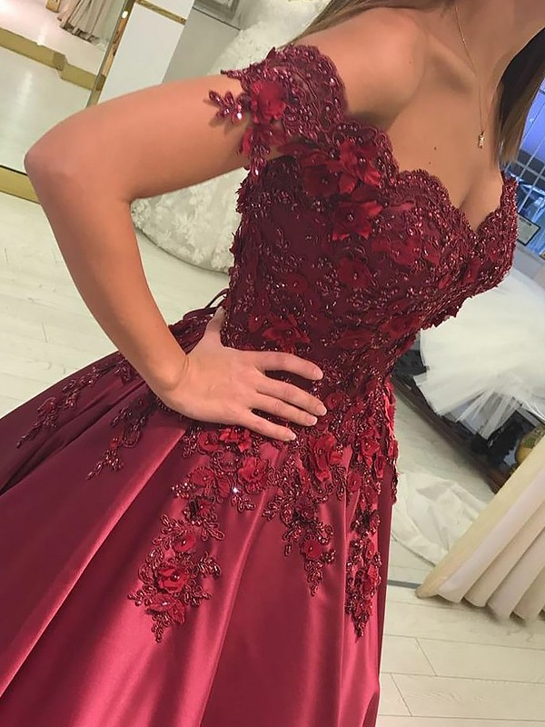 Ball Gown Off-the-Shoulder Applique Satin Floor-Length Prom Dresses
