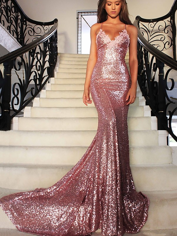 Mermaid V-neck Sweep/Brush Train Sequins Ruffles Prom Dresses
