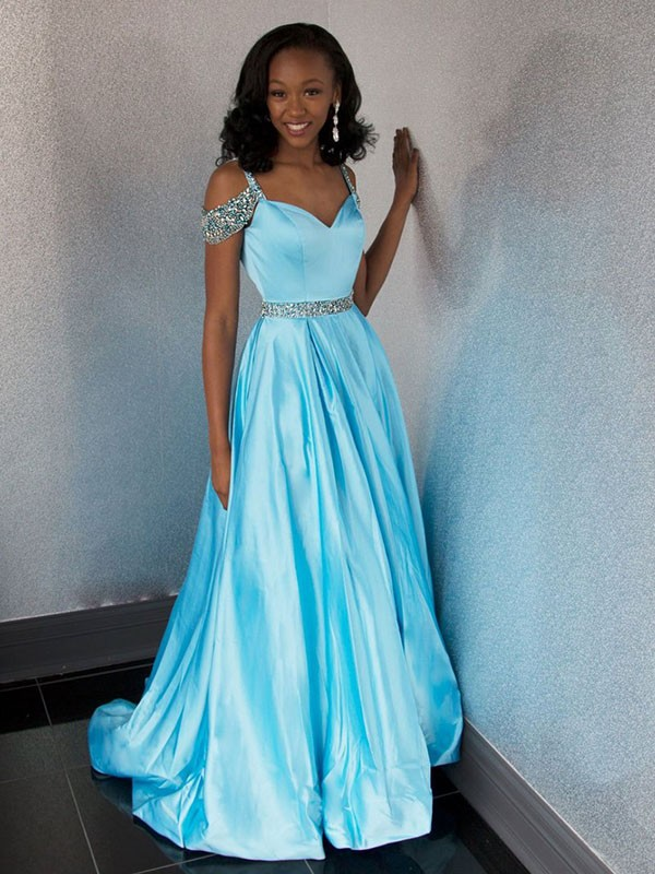 A-Line Sweetheart Sweep/Brush Train With Beading Satin Prom Dresses