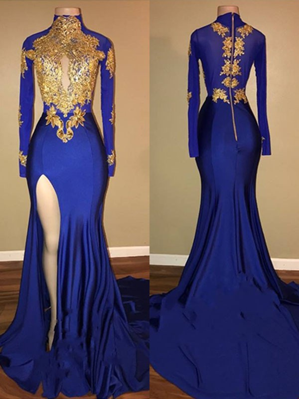 Mermaid High Neck Sweep/Brush Train Applique Spandex Prom Dresses
