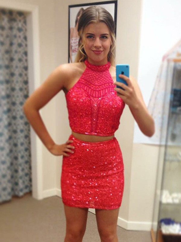 Sheath Halter Sequin Beading Short/Mini Two Piece Homecoming Dresses
