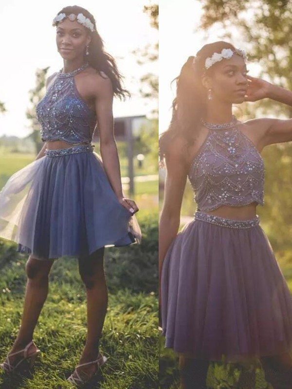 Halter Cut Short With Beading Tulle Silver A-Line Homecoming Dresses