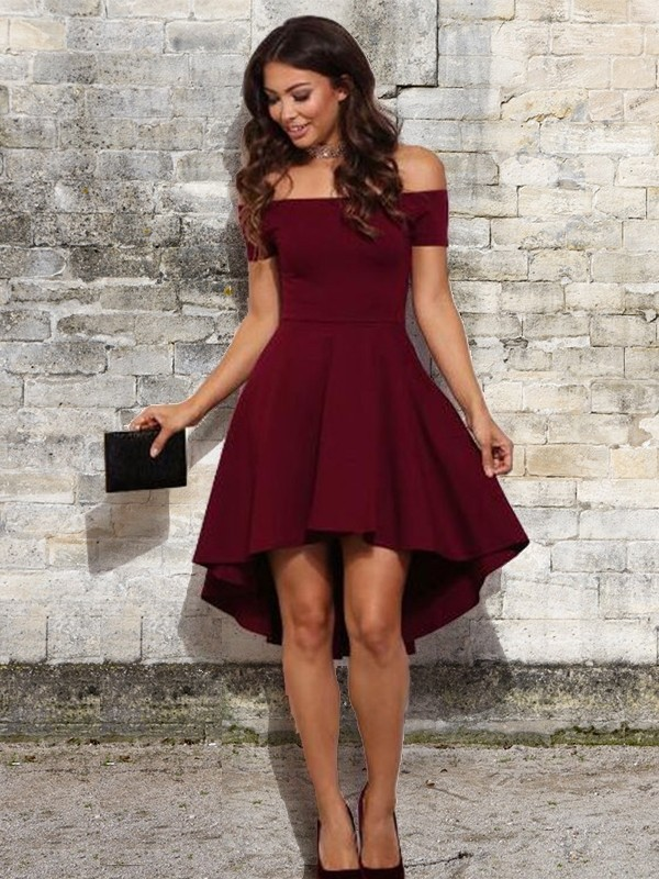 A-Line Elastic Woven Satin Ruffles Off-the-Shoulder Short/Mini Homecoming Dresses