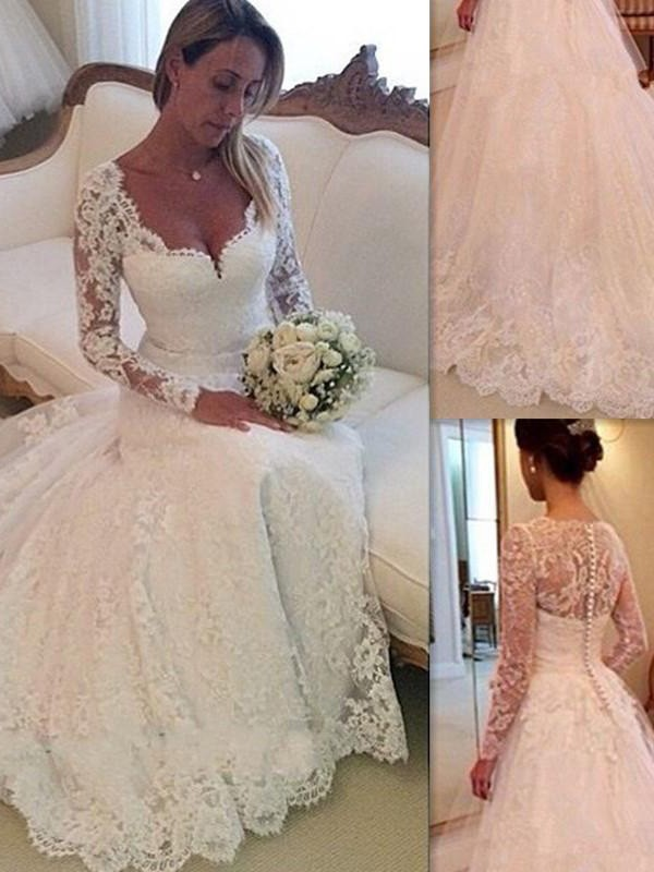 V-neck Lace Court Train Tulle Ball Gown Wedding Dresses