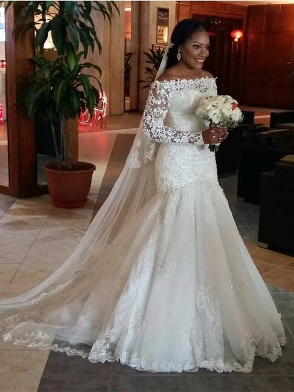 Mermaid Off-the-Shoulder Lace Sweep Train Tulle Wedding Dresses