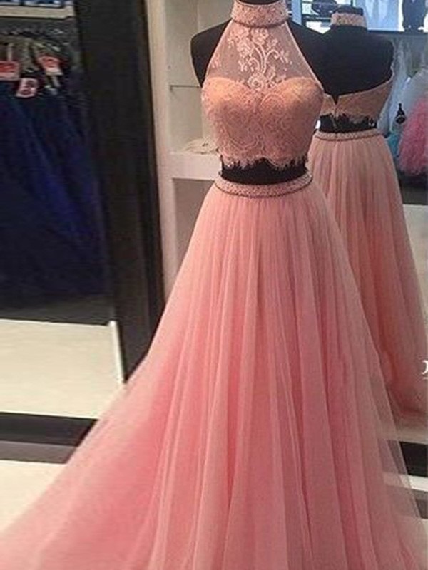 A-Line High Neck Tulle Lace Floor-Length Two Piece Prom Dresses