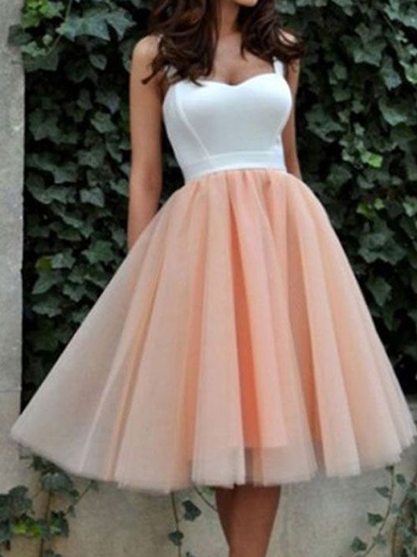 A-Line Sweetheart Tulle Short/Mini Homecoming Dresses