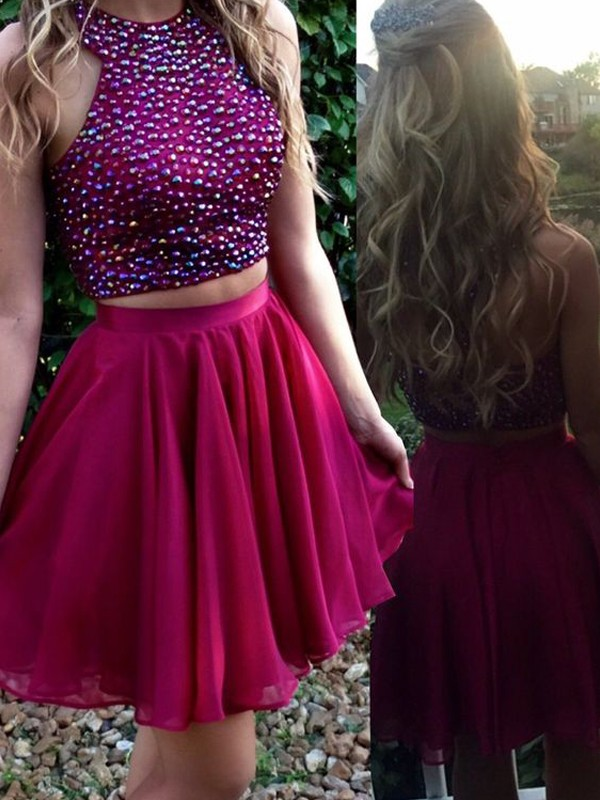 A-Line Scoop Beading Chiffon Short/Mini Two Piece Homecoming Dresses