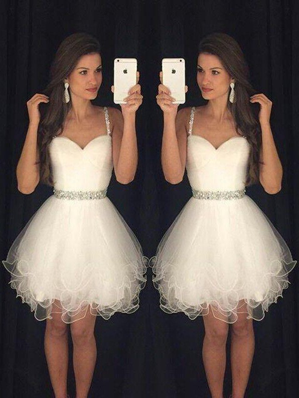 A-Line Sweetheart Beading Tulle Short/Mini Homecoming Dresses