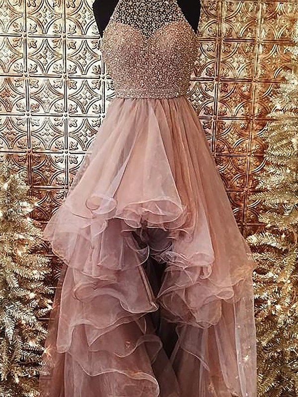Halter Beading Sweep/Brush Train Tulle Ball Gown Prom Dresses