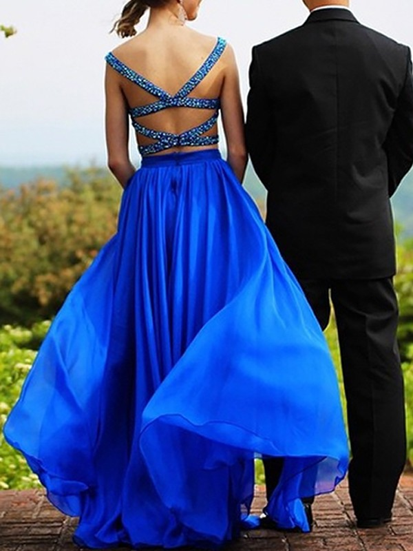 A-Line Sweetheart Chiffon Beading Floor-Length Two Piece Prom Dresses