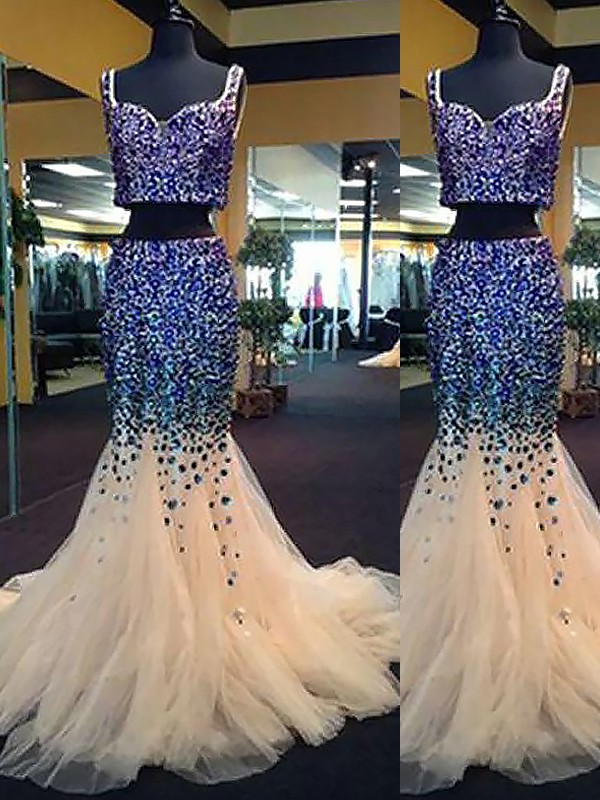Mermaid Sweetheart Tulle Beading Sweep/Brush Train Two Piece Prom Dresses