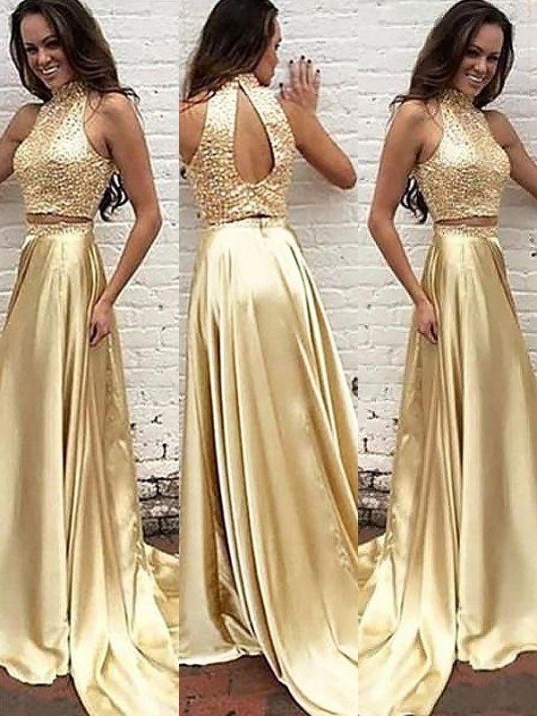 A-Line High Neck Satin Sweep/Brush Train Beading Two Piece Prom Dresses