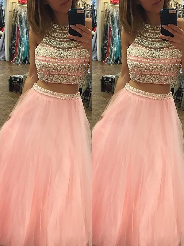 A-Line Halter Tulle Floor-Length Beading Two Piece Prom Dresses
