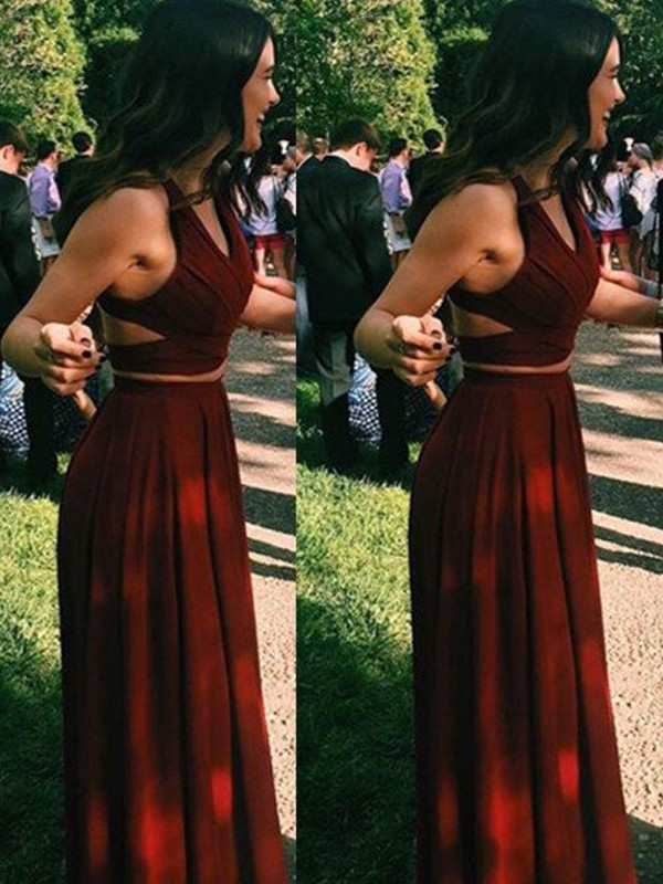 A-Line Halter Chiffon Floor-Length Two Piece Prom Dresses