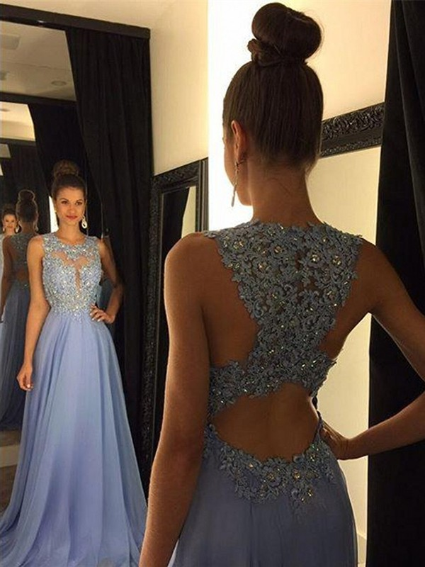A-Line Scoop Sweep/Brush Train Applique Chiffon Prom Dresses