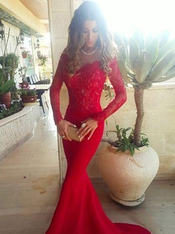Mermaid Off-the-Shoulder Lace Sweep/Brush Train Satin Prom Dresses