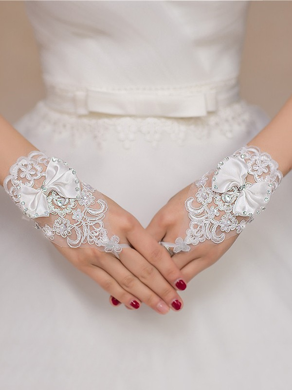 Fashion Chic Lace Bowknot Wedding Gloves