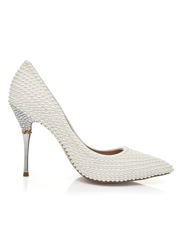 Latest Women's Patent Leather Stiletto Heel Closed Toe With Pearl High Heels