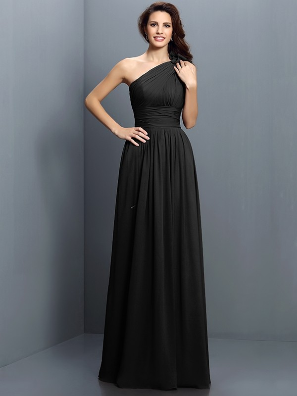Black One Shoulder Chiffon Bridesmaid Dress