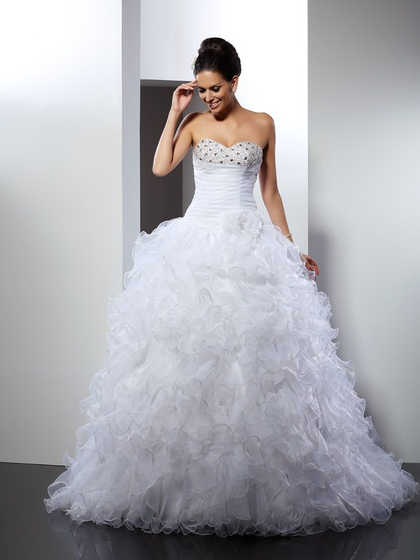 Sweetheart Beading Organza Ball Gown Wedding Dresses Fabmiss