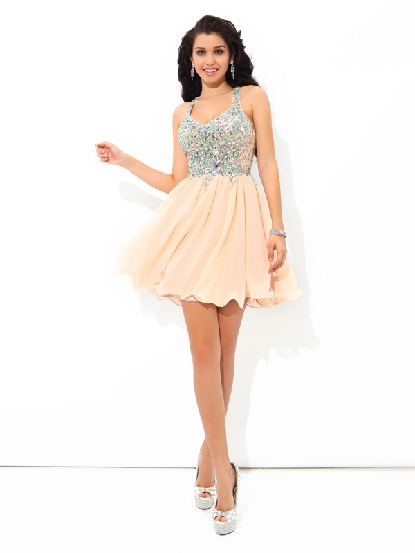 A-Line Straps Rhinestone Short Chiffon Homecoming Dresses - FabMiss f16bb77d7
