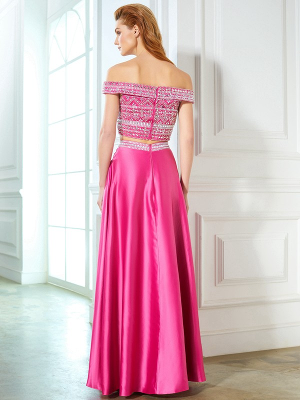 6c7b87b48cc A-Line Off-the-Shoulder Beading Satin Floor-Length Two Piece Prom Dresses -  FabMiss