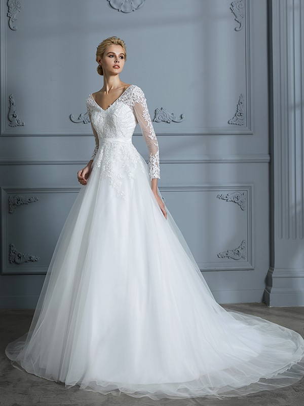 c0f0b8626fbad V-neck Court Train Lace Tulle Ball Gown Wedding Dresses - FabMiss