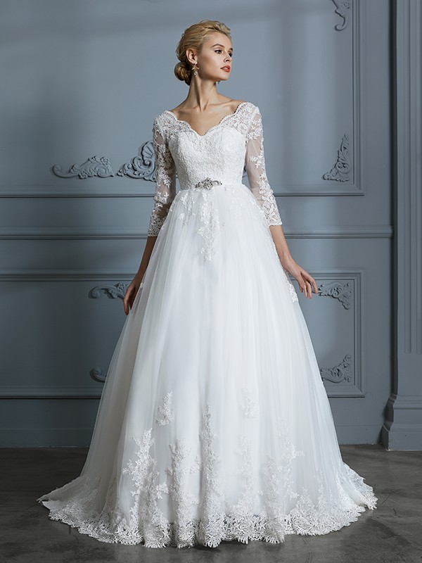 25e4669f69754 V-neck Court Train Lace Tulle Ball Gown Wedding Dresses - FabMiss