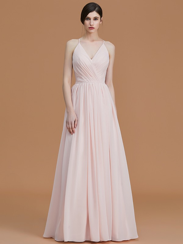 2727ea2f1 show as picture; A-Line/Princess Spaghetti Straps Sleeveless Floor-Length  Ruched Chiffon Bridesmaid Dresses ...