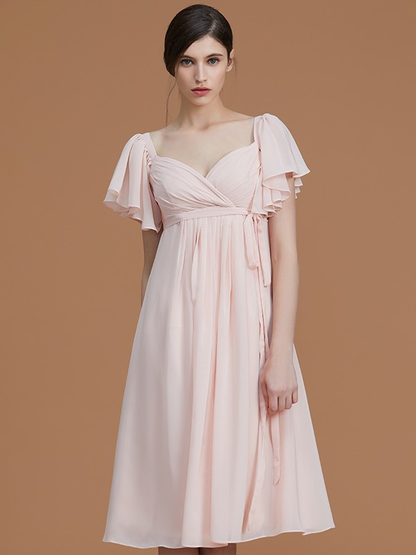 d0153a82b9 ... Empire Sweetheart Short Sleeves Knee-Length Ruched Chiffon Bridesmaid  Dresses ...