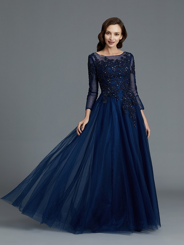b0693f0559 ... A-Line Princess Long Sleeves Scoop Beading Floor-Length Tulle Mother of  the ...