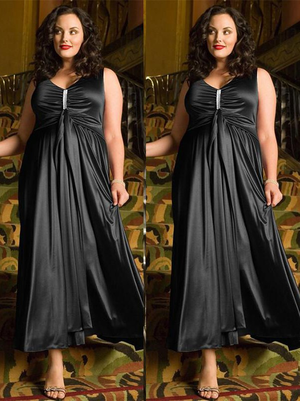 fc7336d3a30 A-Line V-neck Beading Ankle-Length Elastic Woven Satin Plus Size Prom  Dresses - FabMiss