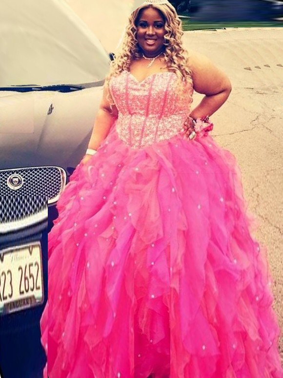 Sweetheart Beading Floor-Length Organza Plus Size Ball Gown Prom Dresses