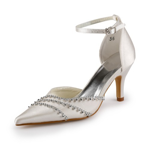 7b0c79e018 Latest Women's Nice Satin Stiletto Heel Closed Toe Champagne Wedding Shoes  With Buckle - FabMiss