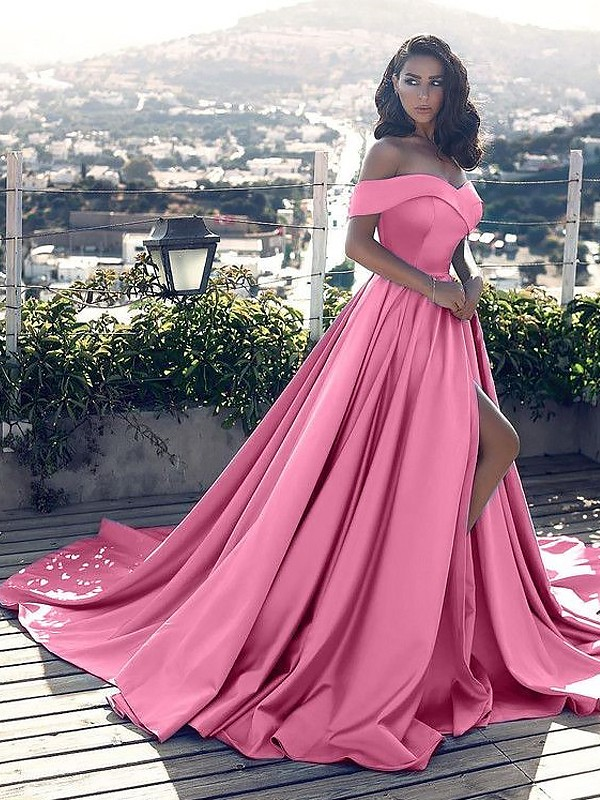 d225ee930a3 A-Line Off-the-Shoulder Ruffles Satin Court Train Prom Dresses - FabMiss
