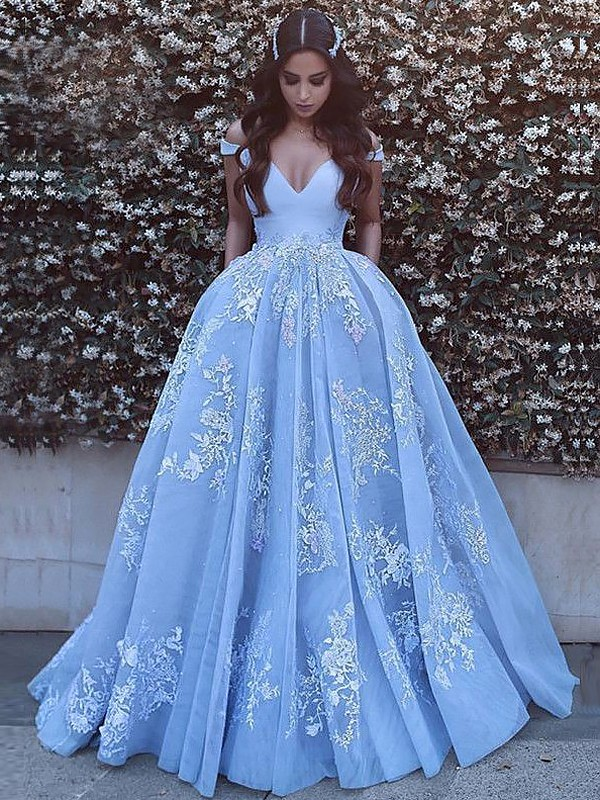 13df865819a Ball Gown Off-the-Shoulder Applique Tulle Sweep Brush Train Prom Dresses