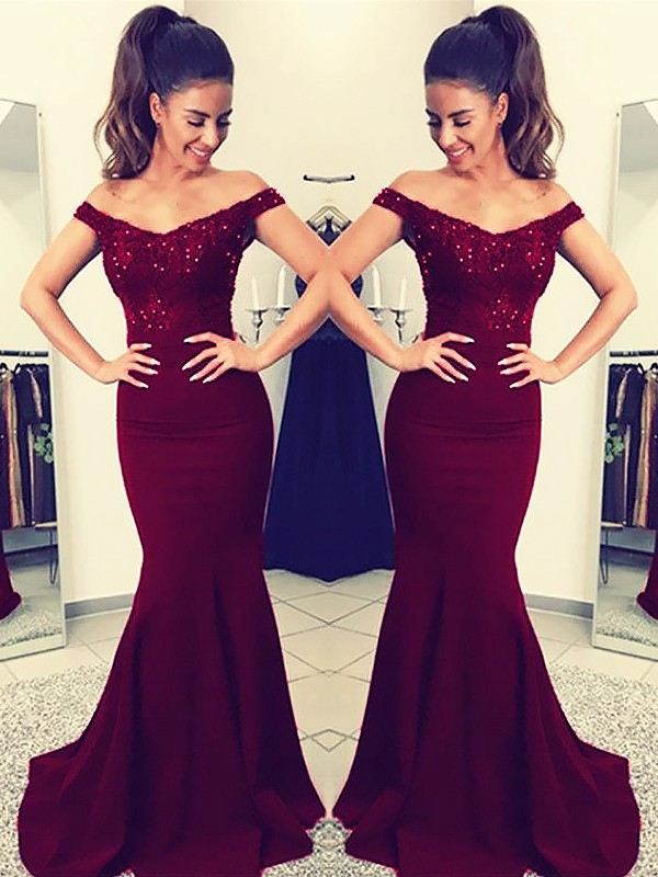 ea0ad2e2ed4 Mermaid Off-the-Shoulder Sweep Train Lace Satin Prom Dresses - FabMiss